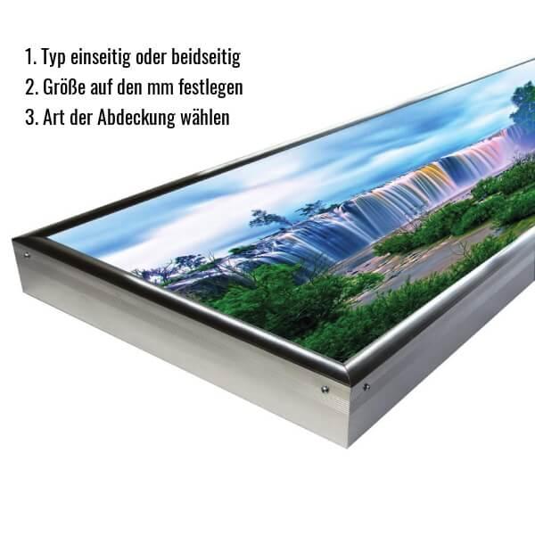 Leuchtkasten Konfigurator - Wählen Sie Typ einseitig / beidseitig, Größe (mm), Art der Abdeckung und weitere Optionen